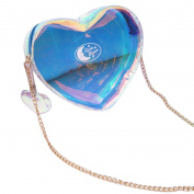 LA HAUTE Fashion Heart Shape Clutch Shoulder Bags Holographic Mini Chain Crossbody Bags Evening Party Bags