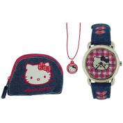 Hello Kitty Girls Analogue Blue Denim Pink Dial Watch Pendant & Purse Set