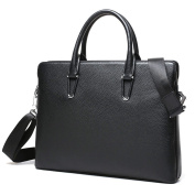 CHAMARIPA - Genuine Fine Grained Leather Briefcase Business Handbag for Man Black/Brown