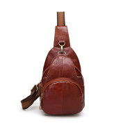 Chest Bag Pockets Of Men And Women Universal Leather Cowhide Solid Colour