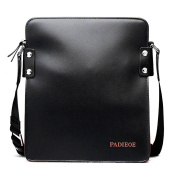 Padieoe Men's Genuine Cowihde Leather Casual Satchel Crossbody Slim Shoulder Messenger Bag Black