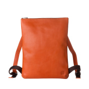 DUDU Mens Backpack Minimalist & Elegant Rucksack for women in Soft Genuine Leather with Zip Closure Orange