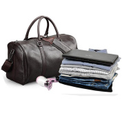 Dark Brown Weekend Holdall Duffle Sports Travel Gym Tote Bag Premium Quality Leather Bag