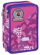 3 ZIP Pencil Case - INVICTA - FLORET - Multi-Layer with pencils, pens, felt tips, eraser ... Black