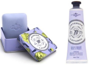 La Chatelaine Shea Butter Lavender Hand Cream + French Soap in a Tin Set, Moisturising, Nourishing, Made in France, Travel Size Hand Lotion 30ml, Natural Triple Milled Bar