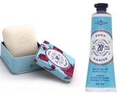 La Chatelaine Shea Butter Hand Cream + French Soap in a Tin Set, Shea Scent, Moisturising, Nourishing, Made in France, Travel Size Hand Lotion 30ml, Natural Triple Milled Bar