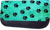 Pawprints On Blue Grunge Jacks Outlet TM Nylon-Lined Cosmetic Case