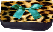 Turquoise Ribbon Print On Leopard Print Jacks Outlet TM Nylon-Lined Cosmetic Case
