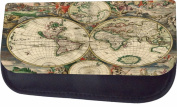 Ancient World Map Jacks Outlet TM Nylon-Lined Cosmetic Case