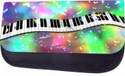 Colourful Piano Music Design Jacks Outlet TM Nylon-Lined Cosmetic Case