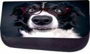 Surprised Collie In Glasses Jacks Outlet TM Nylon-Lined Cosmetic Case