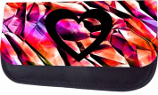 Heart On Rainbow Print Shards Jacks Outlet TM Nylon-Lined Cosmetic Case