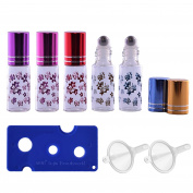 5 PCS 5ml Portable Empty Refillable Roll On Roller Ball Butterfly Glass Bottles Vial + 2 PCS Transfer Funnel + 1 PCS Bottle Opener Set for Fragrance Aromatherapy Essential Oil Perfume