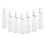 Clear PET Cosmo Plastic Bottle (PBA Free) 120ml w/ White Fine Mist Spray Atomizer (3 Bottle Pack) by Grand Parfums