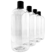 950ml Empty Clear Plastic Bottles with Disc Top Flip Cap (4 pack); PET Boston Round One Quart BPA-Free Containers For Shampoo, Lotions, Liquid Body Soap, Creams
