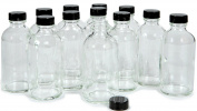 Vivaplex, 12, Clear, 120ml Glass Bottles, with Lids