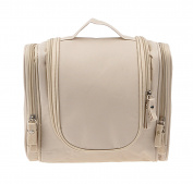 Waterproof Hanging Toiletry Bag,Portable Travel Cosmetic Makeup Bag Travel Kit Organiser Bag Beige