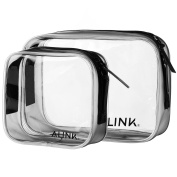 Clear Travel Toiletry Bag, TSA Approved Carry-On Ziplock Cosmetic Accessories Container, 2 Pack