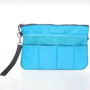 Garrelett Multiple Pockets Cosmetic Bags Nylon Zipper Travel Organiser Case Toiletry Makeup Wash Handbag Pouch Tidy Insert Holder for Car Hotel Bathroom Home for Men or Women