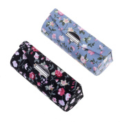 Kloud City Women's 2 Pcs Floral Jacquard Lipstick Case Holder with Mirror Rectangle Fabric Print Makeup Travel Cases