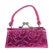 Metallic Floral Lipstick Case with Handle Mini Mahjong Coin Purse - Hot Pink