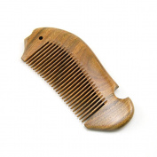 ZoCr Natural Green Sandalwood Handmade Comb Pocket Comb - No Static Premium Quality Wood Hair Comb Detangling Comb - Fish Shaped Fine Tooth Comb