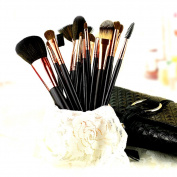 Diolee Pro Makeup Brush Set with Synthetic & Pony Hair with Pouch Bag - 18 count
