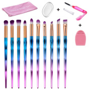 Makeup Brush Set, 10PCS Unicorn Makeup Brushes Eyeshadow Eyeliner Blending Makeup Tools Cosmetic Brushes Kit with Silicone Makeup Sponge, Lash Brush and Brush Washing Board By Beauty Star