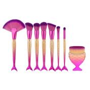 Cosmetic Brush,YJM 8PCS Fish Scale Brush Fishtail Bottom Brush Powder Blush Makeup Cosmetic Brush