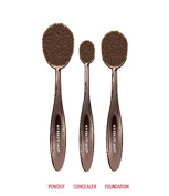 My Beauty Spot Colour Rush Flawless Foundation Oval Toothbrush Style Makeup Brush Set With Metallic Bronze Handles - Small, Medium & Large