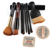 Practical Basic 10 in 1 Facial Cosmetic Tool Set with 8 pcs Facial Makeup Brushes and 2 pcs Shadow Powder Puff Suits