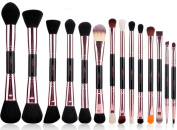 14pcs Make Up Brushes Hot New Double End Rose Gold Makeup Brush Set Synthetic Hair Natural Wood Handle Cosmetic Tools With Corcodile Pu Leather Case Best For Festival Gift