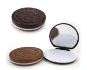 2 PCS Cute Chocolate Cookie Shaped Design Small Mirror Women Girls Makeup Tool Pocket Mirror