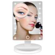 Lighted Makeup Mirror, BEW Vanity Mirror with 16 LED lights, Removable 10x Magnifying Mirrors, 180° Adjustable Stand for Countertop Cosmetic Makeup