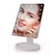 22 LED Lighted Makeup Mirror Vanity Mirror with Touch Screen, 180 Swivel Rotation, Portable Convenience and High Definition Clarity Cosmetic Mirror