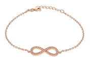 """Tuscany Silver Sterling Silver Rose Gold Plated Cubic Zirconia Infinity Adjustable Bracelet of 16.5cm/6.5""""-19cm/7.5"""""""