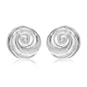Tuscany Silver Sterling Silver 16mm Rose Stud Earrings