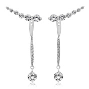 Tuscany Silver Sterling Silver Rhodium Plated White Cubic Zirconia Jacket & Crawler Earrings3.5