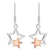 Tuscany Silver Sterling Silver 2 Tone Double Stars Drop Earrings