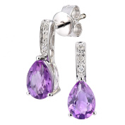 Revoni - 9ct White Gold Diamond and Amethyst Gemstone Teardrop Cut Drop Earring