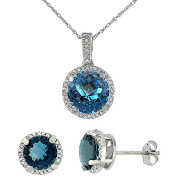 9ct White Gold Natural Round London Blue Topaz Earrings & Pendant Set Diamond Accents