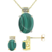 9ct Yellow Gold Natural Oval Malachite Earrings & Pendant Set Diamond Accents