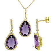 9ct Yellow Gold Natural Pear Shape Amethyst Pendant & Earrings Set Diamond Accents
