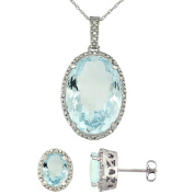 9ct White Gold Natural Oval Aquamarine Earrings & Pendant Set Diamond Accents