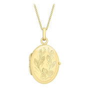 Carissima Gold 9ct Large Oval Flower Locket Pendant on Curb Chain Necklace
