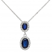 Revoni - 9ct White Gold 0.85ct Sapphire and Diamonds Double Oval Drop Pendant with 40cm Chain