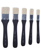 MEEDEN 5 Pcs Large Hog Bristle Paint Brush Set Flat Brushes for Acrylic Oil Painting and Craft, Short Handle
