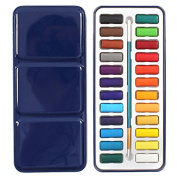TOOGOO(R) 24 Colours Portable Tin Box Solid Watercolour Paints Set For Artist School Student Drawing Painting Stationery Art Supplies 21.5x9.5x1.7cm