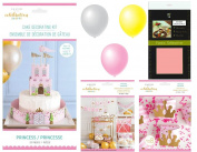 Celebration Shoppe by Kim Byers Princess Theme Bundle of 3 Party Kits - Cake Decorating, Banner & Accessories, and Favour Boxes - for Little Girl's Birthday Party Decor
