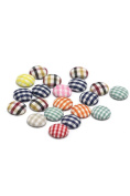Kangkang@ 50pcs Mixed Colour Lattice Fabric Flat Back Shirt Buttons Cloth Covered Buttons Clothing Sewing Button for Shirts Baby Sweaters